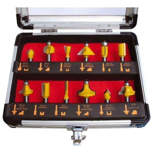 Extol Premium felsőmaró készlet - 12 részes - 8mm - keményfém lapka