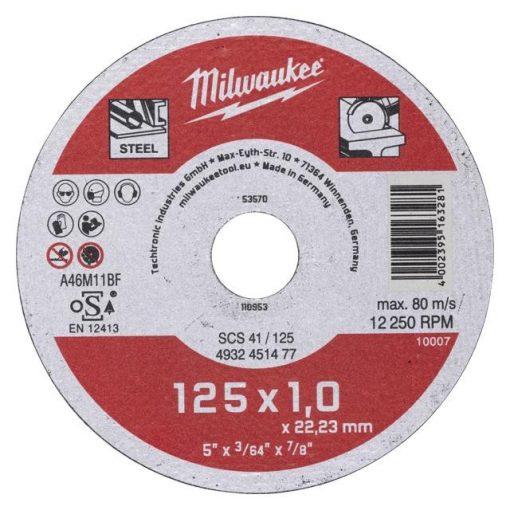 Milwaukee vágókorong fémre 125x1,0x22,2